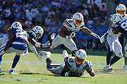 Sep 8, 2019; Carson, CA, USA; Los Angeles Chargers running back Austin Ekeler (30) carries the ball on a 19-yard run in overtime against the Indianapolis Colts at Dignity Health Sports Park. The Chargers defeated the Colts 30-24 in overtime.