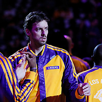 10 December 2013: Los Angeles Lakers center Pau Gasol (16) is seen during the players introduction prior to the Phoenix Suns 114-108 victory over the Los Angeles Lakers at the Staples Center, Los Angeles, California, USA.