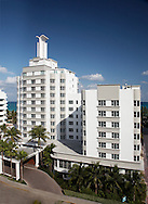 We captured this digital architectural photograph of the Palms Hotel street facade in Miami by arranging roof access of the hotel on the other side of the street.