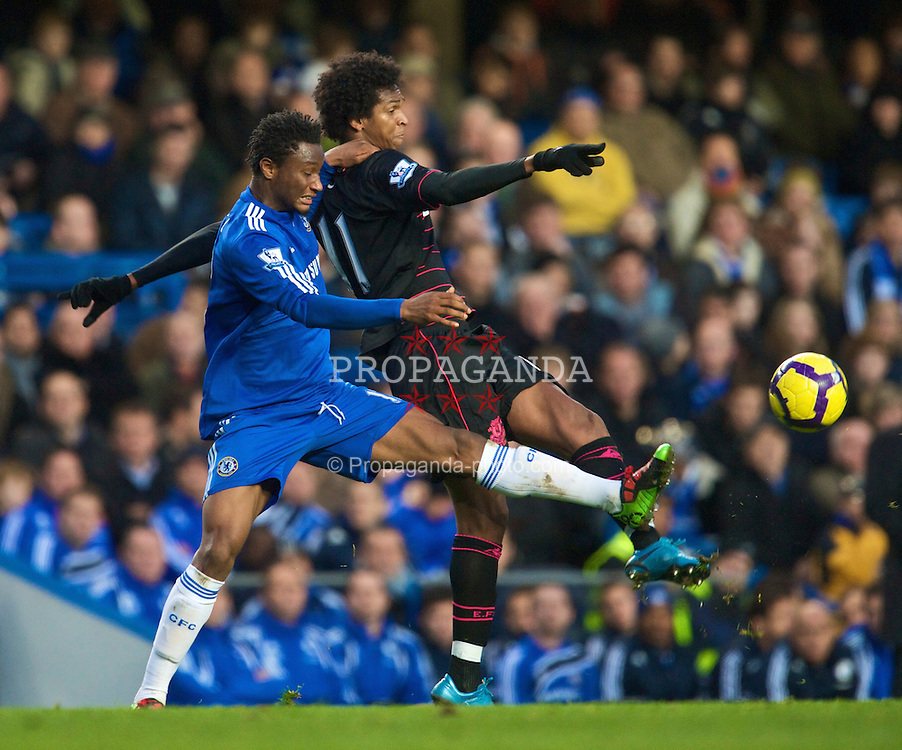 LONDON, ENGLAND - Saturday, December 12, 2009: Everton's Jo and Chelsea's John Mikel Obi during the Premiership match at Stamford Bridge. (Photo by David Rawcliffe/Propaganda)