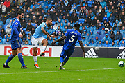 Sergio Aguero (10) of Manchester City shoots at goal during the Premier League match between Cardiff City and Manchester City at the Cardiff City Stadium, Cardiff, Wales on 22 September 2018.