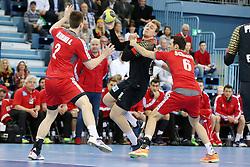 03.04.2016, Schwalbe Arena, Gummersbach, GER, Testspiel, Deutschland vs Oesterreich, im Bild Alexander Hermann (#2, Oesterreich) mit Julius Kuehn (#35, Deutschland) und Dominik Schmidt (#6, Oesterreich) // during the International Handball Friendly Match between Germany and Austria at the Schwalbe Arena in Gummersbach, Germany on 2016/04/03. EXPA Pictures © 2016, PhotoCredit: EXPA/ Eibner-Pressefoto/ Deutzmann<br /> <br /> *****ATTENTION - OUT of GER*****