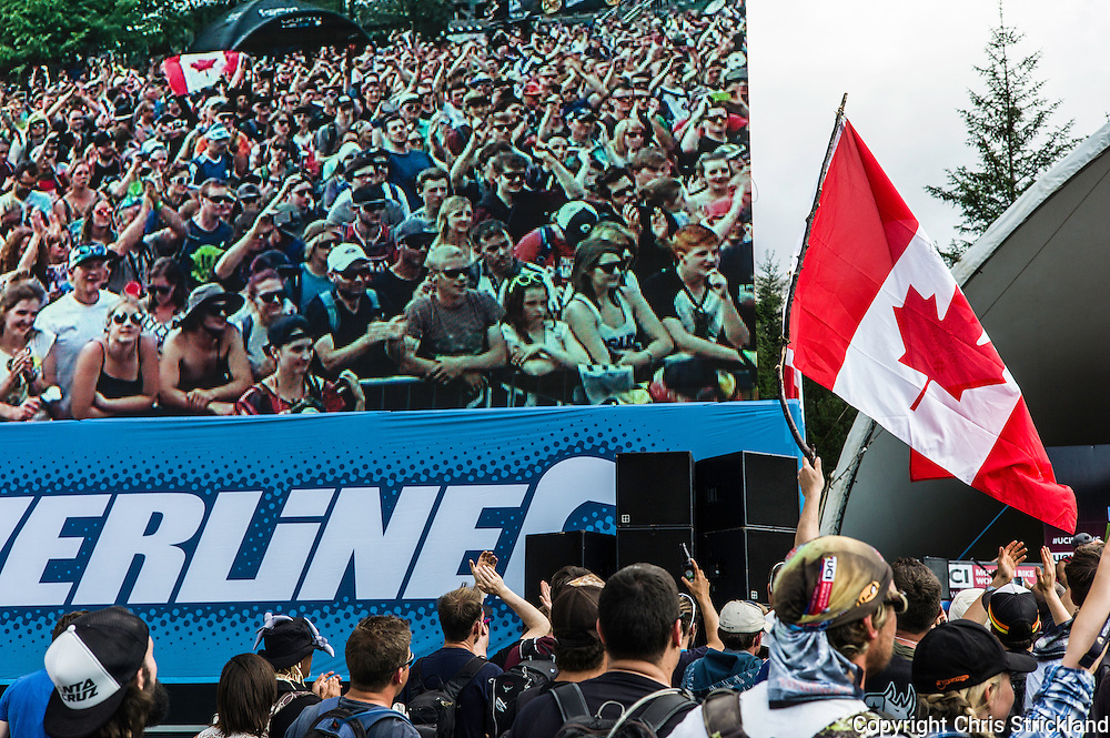 Nevis Range, Fort William, Scotland, UK. 5th June 2016. Fans enjoy the podium presentations. The worlds leading mountain bikers descend on Fort William for the UCI World Cup on Nevis Range.