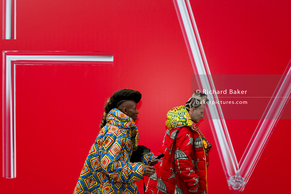 Abiah Superstar and Brad Muttitt of Amen Fashion attend a catwalk show at the BFC Show Space in the Strand, during 2019 London Fashion Week 2019, 18th February 2019, in London, England.