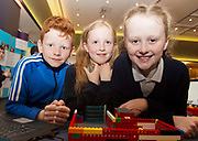 (Raheen NS) Scoil Naomh Cuan's Corey Kilkenny, Aoibhin Tully Hough and Makayla Malone  with one of their projects at the Jnr Lego League organized through schools by the Galway Education Centre at The Radisson blu hotel<br />  Photo: Andrew Downes,  xposure