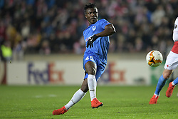 February 14, 2019 - Prague, CZECH REPUBLIC - Genk's Joseph Aidoo pictured in action during a soccer game between Czech club SK Slavia Praha and Belgian team KRC Genk, the first leg of the 1/16 finals (round of 32) in the Europa League competition, Thursday 14 February 2019 in Prague, Czech Republic. BELGA PHOTO YORICK JANSENS (Credit Image: © Yorick Jansens/Belga via ZUMA Press)