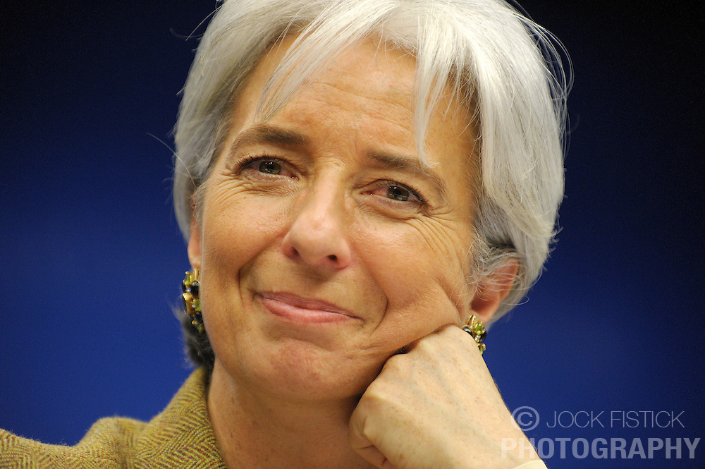 Christine Lagarde, France's finance minister, speaks during a news conference following the the meeting of EU economic and finance ministers, in Brussels, Belgium, on Tuesday, Dec. 2, 2008. (Photo © Jock Fistick)