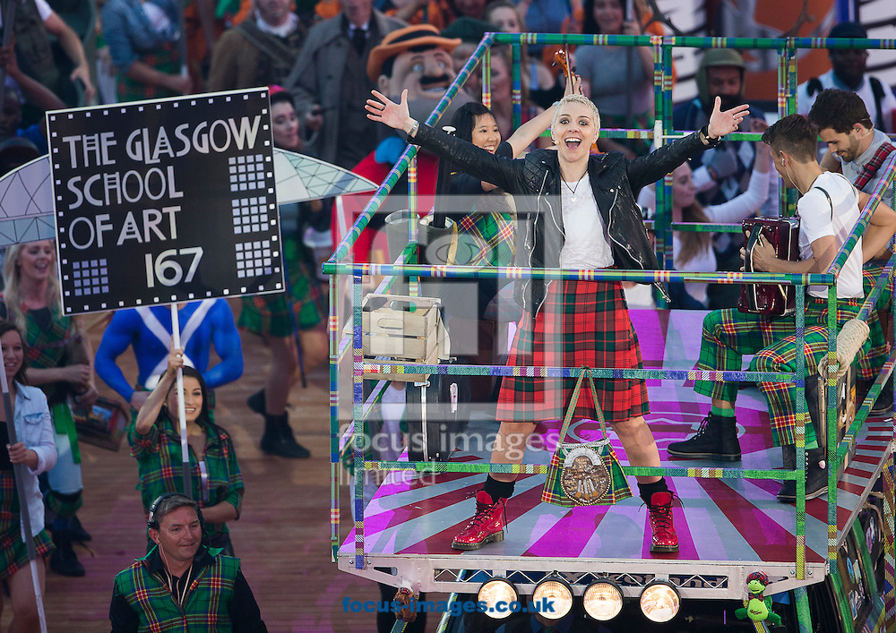 Karen Dunbar performs during the Glasgow 2014 Commonwealth Games Opening Ceremony at Celtic Park, Glasgow<br /> Picture by Paul Terry/Focus Images Ltd +44 7545 642257<br /> 23/07/2014