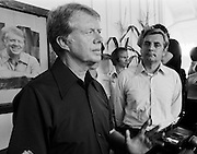 "1976 Democratic presidential nominee Jimmy Carter and his running mate Walter ""Fritz"" Mondale speak to the press at the Plains, Georgia railway depot. - To license this image, click on the shopping cart below -"