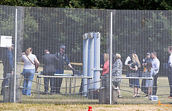 © Licensed to London News Pictures. 12/07/2018. London, UK. Police search visitors to the US Ambassador's residence  in Regent's Park - where US President Trump will stay later.  Photo credit: Peter Macdiarmid/LNP