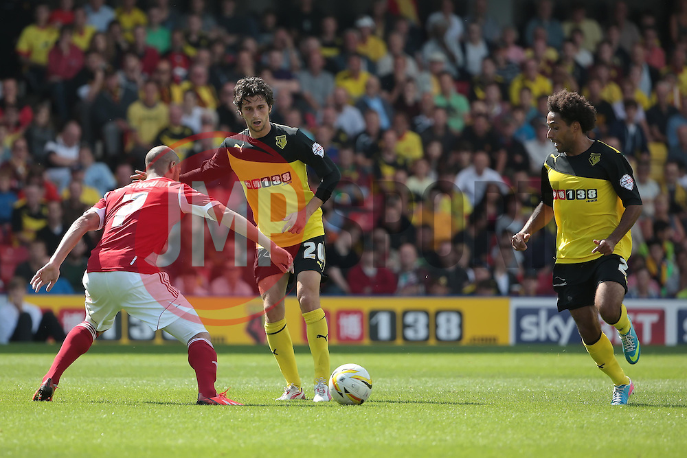 Watford's Diego Fabbrini lays the ball off to Watford's Ikechi Anya  - Photo mandatory by-line: Nigel Pitts-Drake/JMP - Tel: Mobile: 07966 386802 25/08/2013 - SPORT - FOOTBALL -Vicarage Road Stadium - Watford -  Watford v Nottingham Forest - Sky Bet Championship