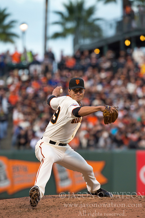 SAN FRANCISCO, CA - MAY 05: Javier Lopez #49 of the San Francisco Giants pitches against the Los Angeles Dodgers during the eighth inning at AT&T Park on May 5, 2013 in San Francisco, California. The San Francisco Giants defeated the Los Angeles Dodgers 4-3. (Photo by Jason O. Watson/Getty Images) *** Local Caption *** Javier Lopez
