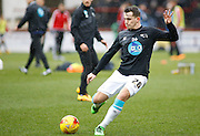 Derby County Midfielder Jamie Hanson during the warm up before the Sky Bet Championship match between Brentford and Derby County at Griffin Park, London, England on 20 February 2016. Photo by Andy Walter.
