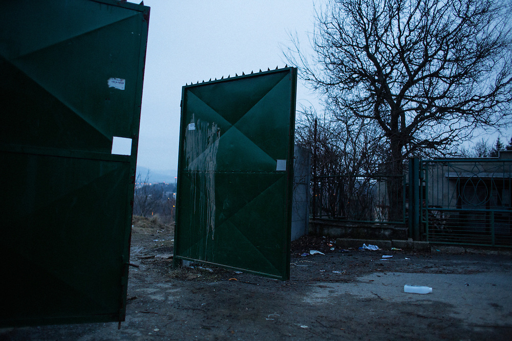The wall and gate separating a Roma settlement and Slovak neighborhoods in Presov, Slovakia which was recently breached by local Roma. The wall blocked access to a main road and forced the Roma to travel an extra 40minutes to town.