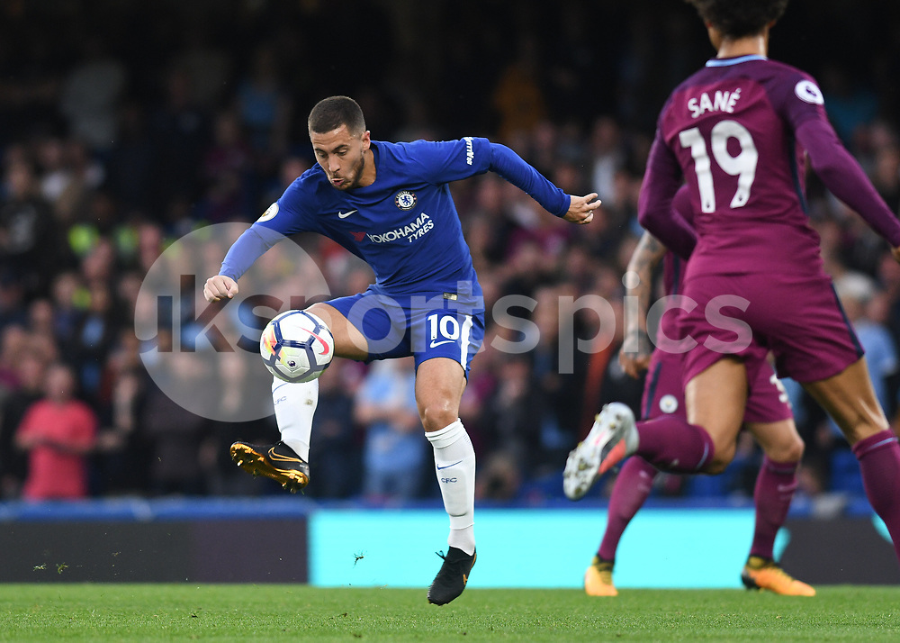 Eden Hazard of Chelsea in action during the Premier League match between Chelsea and Manchester City at Stamford Bridge, London, England on 30 September 2017. Photo by Vince Mignott.