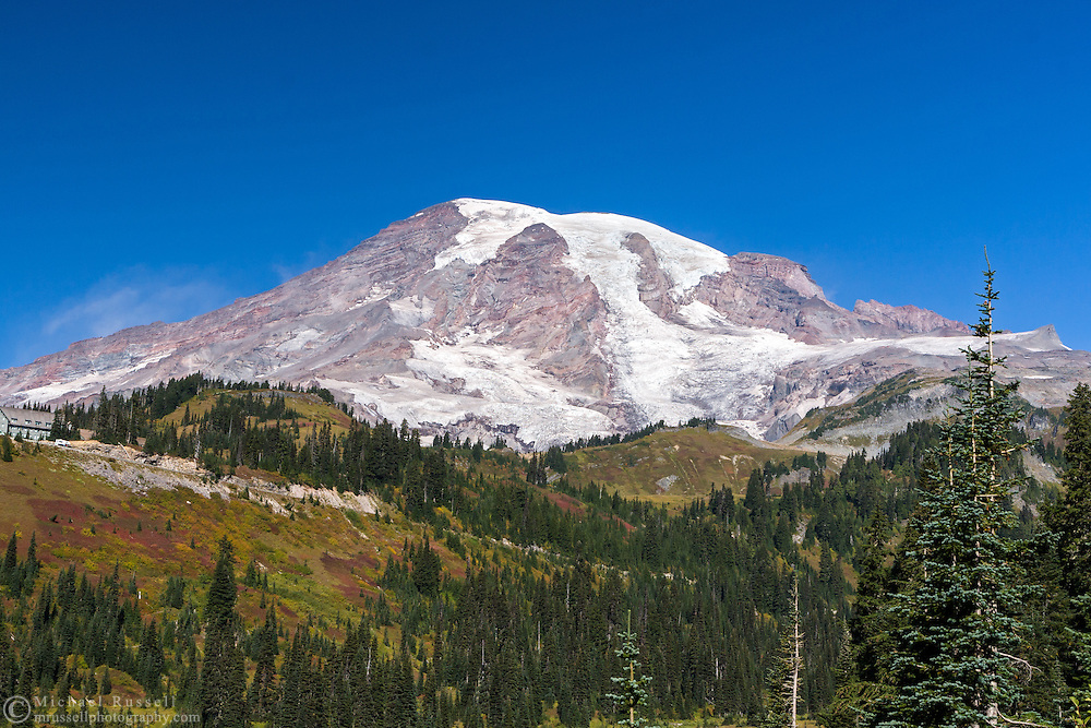 View of Mount Rainier from the Paradise Valley at Mount Rainier National Park, Washington State, USA
