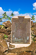 Historical placque at Poli'ahu Heiau (temple), Wailua River State Park, Island of Kauai, Hawaii