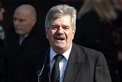 © Licensed to London News Pictures. 28/03/2018. Liverpool, UK. BOB CAROLGEES leaves Liverpool Cathedral after the service . The funeral of comedian and performer Sir Ken Dodd , who died on 11th March 2018 at the age of 90 . Photo credit: Joel Goodman/LNP