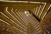 The landmark pyramid of Sheraton Doha hotel; the atrium.