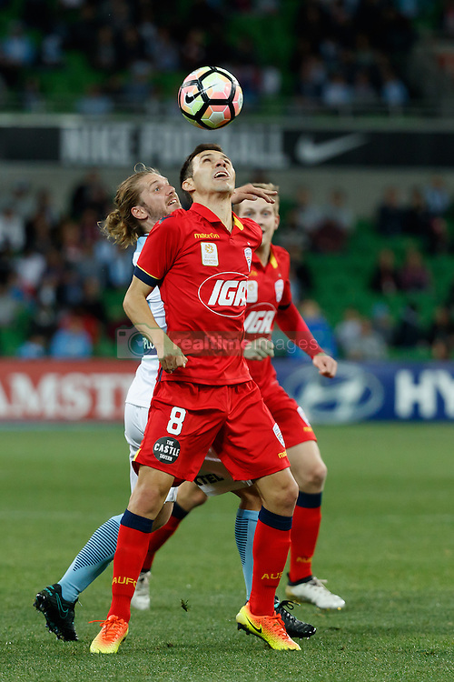 October 28, 2016 - Melbourne, Victoria, Australia - ISAÍAS (8) of Adelaide fights for the ball in the round 4 match of the A-League between Melbourne City and Adelaide United at AAMI Park, Melbourne, Australia. Melbourne won 2-1 (Credit Image: © Sydney Low via ZUMA Wire)