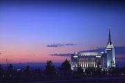 Rexburg, Idaho LDS Temple in a 2011 Summer Sunset.