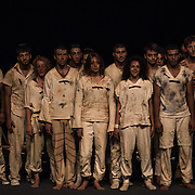 The group of circus artists of the Palestinian Circus School and Le Lido Ecole des Arts du Cirque de Toulouse, protagonists of the Mobile Circus 2013, Ramallah, Palestine. From the left: Ahmad, Noor, Camille, Nico, Moatassem, Noémie (Alaa behind her), Mohamad, Hazar, Omar, Sireen, Ibrahim, Maxime, Sarah