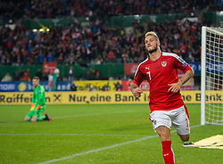 VIENNA, AUSTRIA - Thursday, October 6, 2016: Austria's Marko Arnautovic celebrates scoring the second goal during the 2018 FIFA World Cup Qualifying Group D match against Austria at the Ernst-Happel-Stadion. (Pic by Peter Powell/Propaganda)