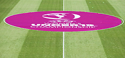LLANELLI, WALES - Thursday, August 22, 2013: The UEFA logo on the pitch before the Group A match of the UEFA Women's Under-19 Championship Wales 2013 tournament at Parc y Scarlets. (Pic by David Rawcliffe/Propaganda)