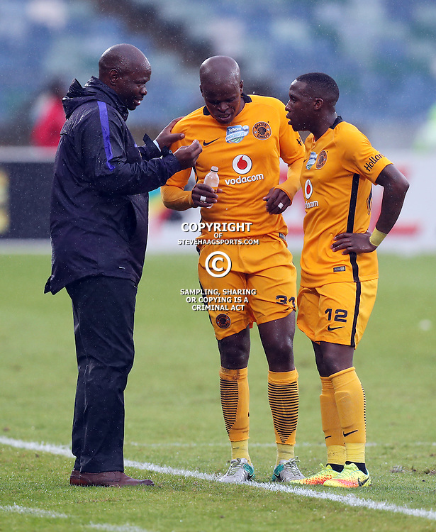 Steve Komphela (Head Coach) of Kaizer Chiefs with Willard Katsande and George Maluleka of Kaizer Chiefs during the Telkom Knockout quarterfinal  match between Kaizer Chiefs and Free State Stars at the Moses Mabhida Stadium , Durban, South Africa.6 November 2016 - (Photo by Steve Haag Kaizer Chiefs)