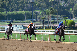 March 29, 2018 - Arcadia, California, USA - Horse Racing -  Horses head down the stretch during the 6th race at Santa Anita Race Track, Arcadia, California, USA, March 29, 2018..Credit Image  cr Scott Mitchell/ZUMA Press (Credit Image: © Scott Mitchell via ZUMA Wire)