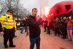 """© Licensed to London News Pictures. 11/03/2018. London, UK. Alt right group Generation Identity and other far-right groups hold a demonstration at Speakers' Corner in Hyde Park , opposed by antifascists . Generation Identity supporters Martin Sellner and Brittany Pettibone were due to speak at the demo but were arrested and detained by police when they arrived in the UK , also forcing them to cancel an appearance at a UKIP """" Young Independence """" youth event , which in turn was reportedly cancelled amid security concerns . Photo credit: Joel Goodman/LNP"""