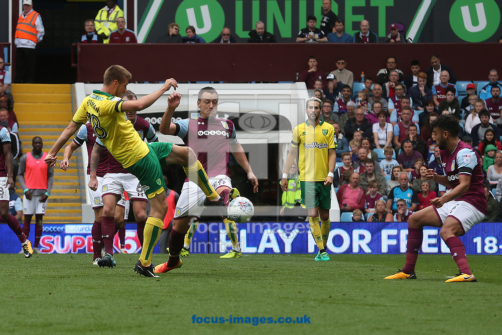 Marco Stiepermann of Norwich has a shot on goal during the Sky Bet Championship match at Villa Park, Birmingham<br /> Picture by Paul Chesterton/Focus Images Ltd +44 7904 640267<br /> 19/08/2017