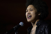 """Imani A. Redman, a theater student, performs at the Black Student Cultural Programming Board's talent showcase """"Apollo Night's Best"""" on Friday, Feb. 5, 2016. Photo by Kaitlin Owens"""