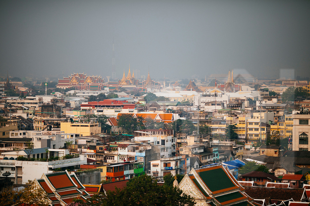 A view over the old town with the Grand Palace and Wat Pho in the distance, Bangkok, Thailand, Southeast Asia