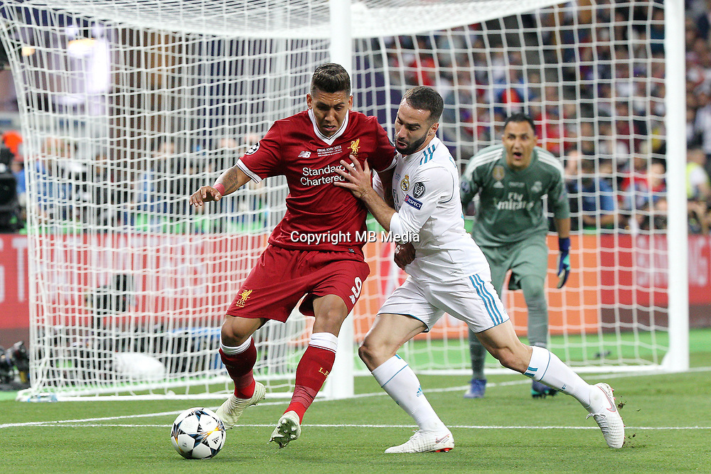 KIEV, UKRAINE - MAY 26: Roberto Firmino of Liverpool in action during the UEFA Champions League final between Real Madrid and Liverpool at NSC Olimpiyskiy Stadium on May 26, 2018 in Kiev, Ukraine. (MB Media)