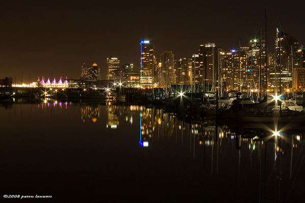 downtown Vancouver at night, reflections on water