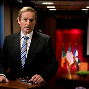 February 9, 2012 - New York, NY :.Taoiseach (Irish Prime Minister) Enda Kenny, at podium, answers questions during a press conference after an 'Invest in Ireland' forum at the Kimmel Center at New York University on Thursday, Feb. 9, 2012. .CREDIT: Karsten Moran for The Irish Independent