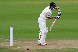 New Zealand's Luke Ronchi cuts the ball. Photo mandatory by-line: Harry Trump/JMP - Mobile: 07966 386802 - 10/05/15 - SPORT - CRICKET - Somerset v New Zealand - Day 3- The County Ground, Taunton, England.