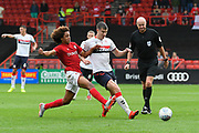 Paddy McNair (17) of Middlesbrough battles for possession with Kasey Palmer (45) of Bristol City during the EFL Sky Bet Championship match between Bristol City and Middlesbrough at Ashton Gate, Bristol, England on 31 August 2019.