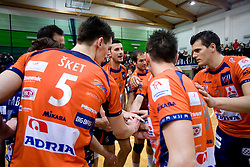 Players of ACH celebrate at last final volleyball match of 1.DOL Radenska Classic between OK ACH Volley and Salonit Anhovo, on April 21, 2009, in Arena SGS Radovljica, Slovenia. ACH Volley won the match 3:0 and became Slovenian Champion. (Photo by Vid Ponikvar / Sportida)
