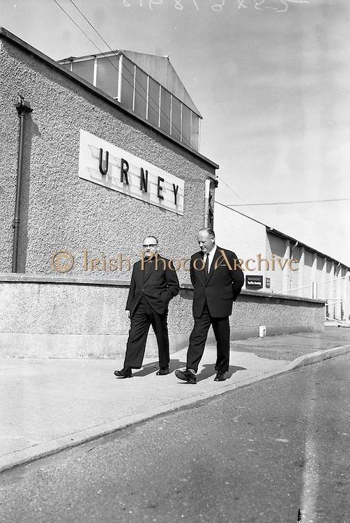 13/09/1962<br /> 09/13/1962<br /> 13 September 1962<br /> Monsignors visit Urney Chocolates Belgard Road, Tallaght, Dublin.  Pictured l-r: T. Headon, Managing Director Urney and Monsignor J. English (Australia).