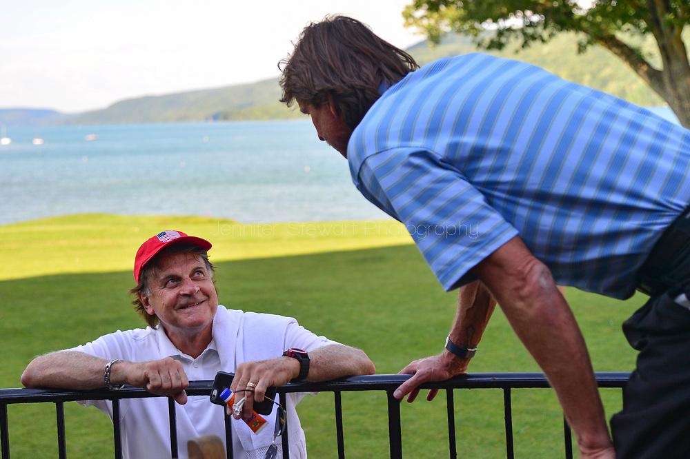 COOPERSTOWN, NY July 24: D-backs Tony La Russa talks with Randy Johnson at The Otesaga Resort Hotel in Cooperstown, NY. (Photo by Jennifer Stewart/Arizona Diamondbacks)