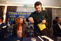 Foto Filippo Rubin<br /> 07/11/2019 Bologna (Italia)<br /> Cronaca Politica<br /> Presentazione campagna elettorale Lucia Borgonzoni candidata Lega - Hotel Savoia Regency<br /> Nella foto: Matteo Salvini e Lucia Borgonzoni<br /> <br /> Photo by Filippo Rubin<br /> November 07th, 2019 Bologna (Italy)<br /> News <br /> Lucia Borgonzoni and Matteo Salvini - Hotel Savoia Regency <br /> In the pic: Matteo Salvini and Lucia Borgonzoni