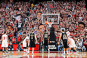 LOUISVILLE, KY - DECEMBER 2: Louisville Cardinals fans hold up cardboard cutouts to try to distract a free throw by the Vanderbilt Commodores during the game at KFC Yum! Center on December 2, 2011 in Louisville, Kentucky. Louisville defeated Vanderbilt 62-60 in overtime. (Photo by Joe Robbins) *** Local Caption ***