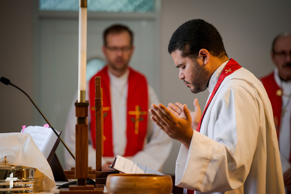 The Rev. Gustavo Maita, pastor of Iglesia Luterana Principe de Paz (Prince of Peace Lutheran Church), Mayagüez, Puerto Rico, leads worship on Sunday, April 15, 2018. LCMS Communications/Erik M. Lunsford