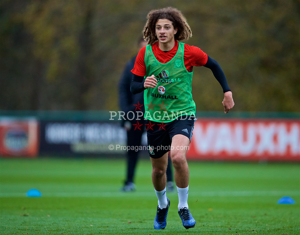 CARDIFF, WALES - Monday, November 6, 2017: Wales' Ethan Ampadu during a training session at the Vale Resort ahead of the international friendly match against France. (Pic by David Rawcliffe/Propaganda)