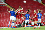 Everton women midfielder Lucy Graham (17) clears the danger from the cross ball during the FA Women's Super League match between Liverpool Women and Everton Women at Anfield, Liverpool, England on 17 November 2019.