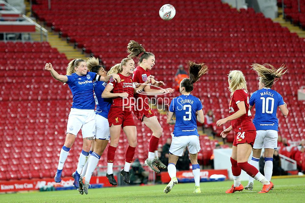 Everton women midfielder Lucy Graham (17) clears the danger from the cross ball during the FA Women's Super League match between Liverpool Women and Everton Women at Anfield, Liverpool, England on 17 November 2019.