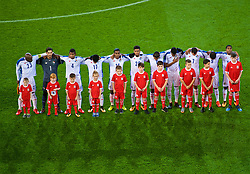 CARDIFF, WALES - Tuesday, November 14, 2017: Panama players line-up for the national anthem before the international friendly match between Wales and Panama at the Cardiff City Stadium. captain Felipe Baloy, goalkeeper Jaime Penedo,Fidel Escobar, Luis Ovalle, Leslie Heráldez, Ricardo Ávila, Manuel Vargas, Michael Amir Murillo, Blas Pérez, Gabriel Torres, Armando Cooper. (Pic by Peter Powell/Propaganda)