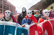 Demonstrators with banners at a demonstration against cross assurance measures at the border from Italy to Austria in Gries am Brenner, Austria.<br /> Picture by EXPA Pictures/Focus Images Ltd 07814482222<br /> 24/04/2016